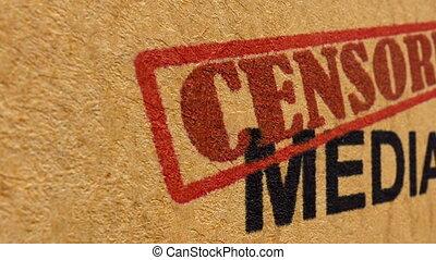 média, concept, censuré