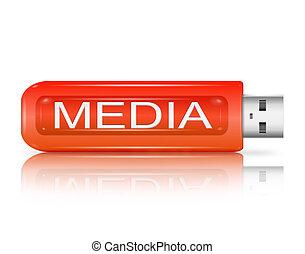 média, concept.