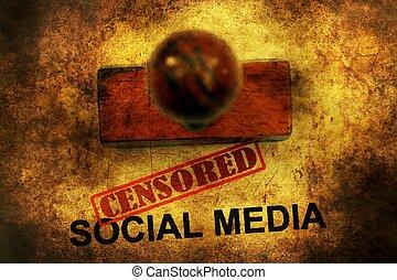 média, concept, grunge, censuré, social