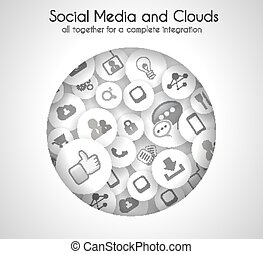 média, concept, nuage, fond, social