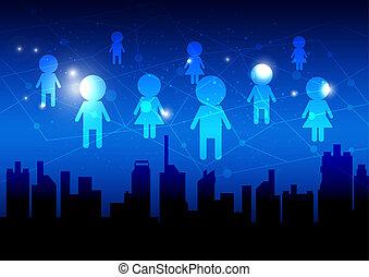 média, concept, réseau, fond, social