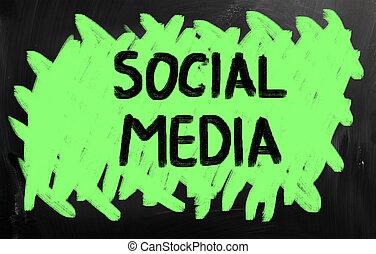 média, concept, social