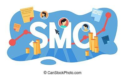 média, concept., social, smo, optimization, publicité, internet
