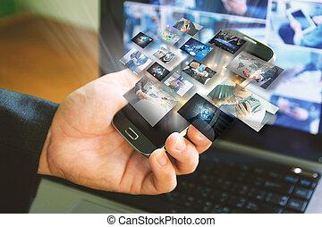 média, concept., társadalmi