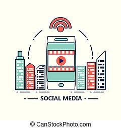 média, conception, social