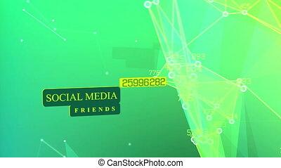 média, connexion, concept., social