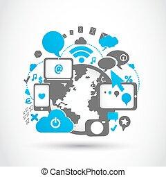 média, connexion, technologie, social