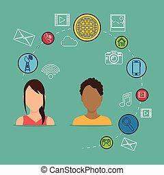 média, couple, social, icônes