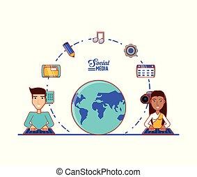 média, couple, social, icones affaires