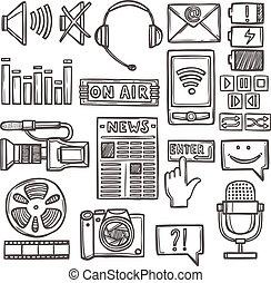 média, croquis, ensemble, icônes