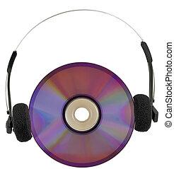 média, disque, écouteurs