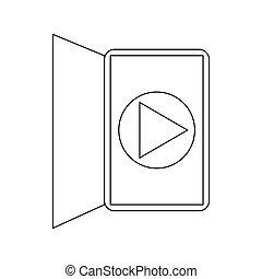 média, ebook, joueur, lecteur, interface, icône