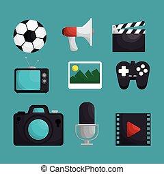 média, ensemble, divertissement, icônes