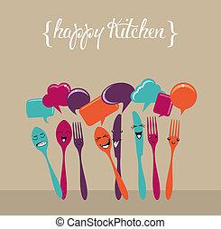 média, ensemble, heureux, cuisine, social