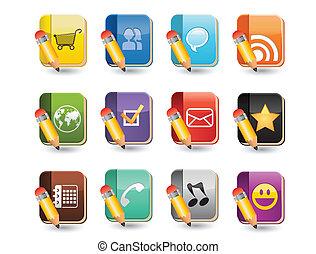 média, ensemble, livre, icône, social