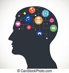 média, fej, kommunikáció, ikonok