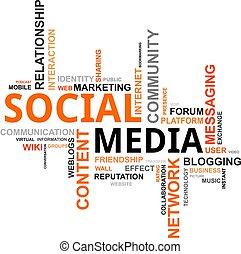média, -, felhő, szó, társadalmi