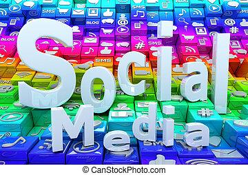 média, fond, social