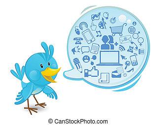 média, gestion réseau, oiseau bleu, social