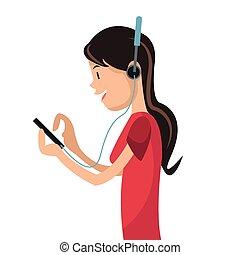 média, girl, smartphone, écouteurs, utilisation