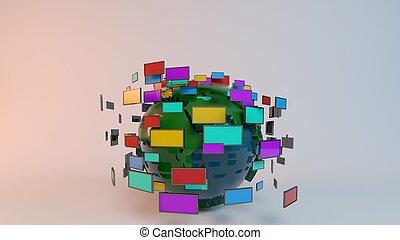 média, globe, concept, technologies