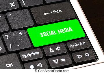média, gombol, társadalmi, írott, zöld, billentyűzet, laptop