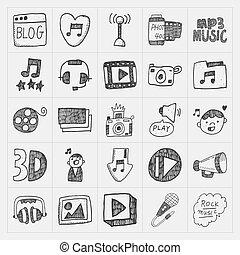 média, griffonnage, ensemble, icônes