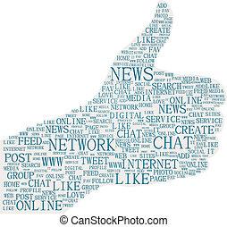 média, haut, illustration, symbole, pouces, social