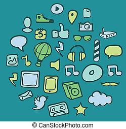média, icône, ensemble