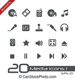 média, icônes, //, élémentsessentiels
