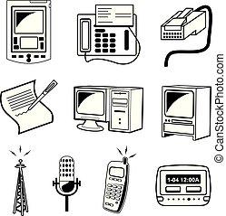 &, média, illustration, vecteur, icône communication