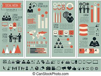 média, infographic, template., társadalmi