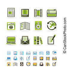 média, information, icônes