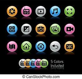 média, interface, icônes, -, gelcolor, série