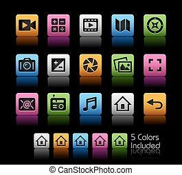 média, interface, icônes