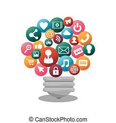 média, isolé, conception, social, ampoule, icône