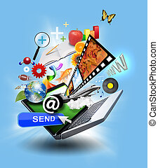 média, laptop computer, internet icons