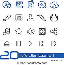 //, média, ligne, icônes, série