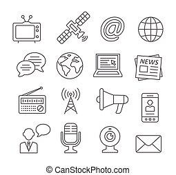 média, ligne, icônes
