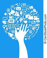 média, main, arbre, social