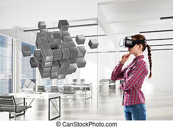 média, masque, mélangé, éprouver, world., technologie, virtuel, girl, réalité
