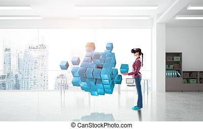 média, masque, réalité virtuelle, éprouver, mélangé, girl, technologie, world.