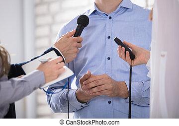 média, micro, parler, homme