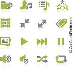 média, natura, icons., joueur