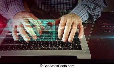 média, ordinateur portable, écriture, joueur, clavier, homme