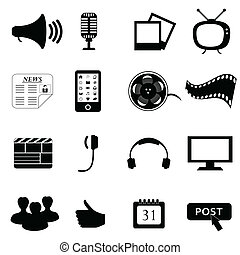 média, ou, multimédia, icônes