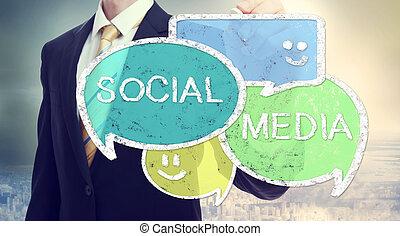 média, parole, social, homme affaires, bulles, dessin