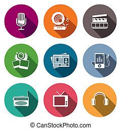 média, plat, icône, ensemble, -, vidéo, nouvelles, musique,...