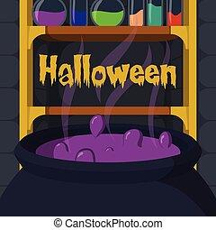 média, potion, sorcière, salle, aussi, usage, chaudron, halloween, histoire, social, boîte, illustration, vecteur, alimentation, ou, bannière