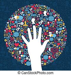 média, réseau, business, social